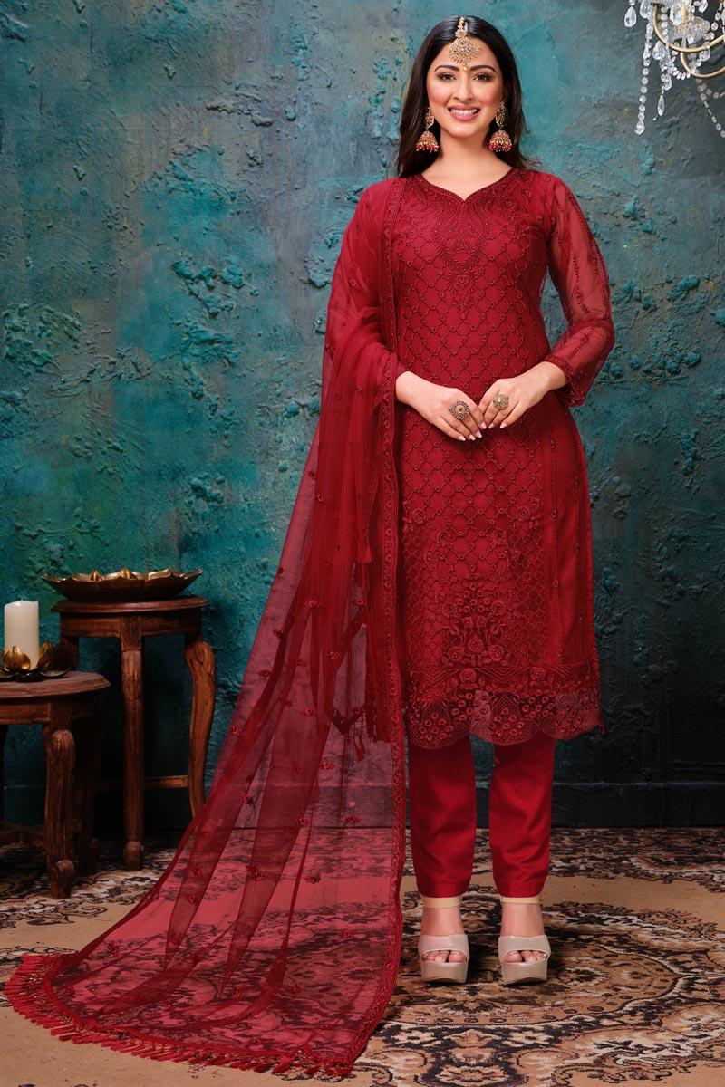 Occasion Wear Red Color Embroidered Salwar Kameez