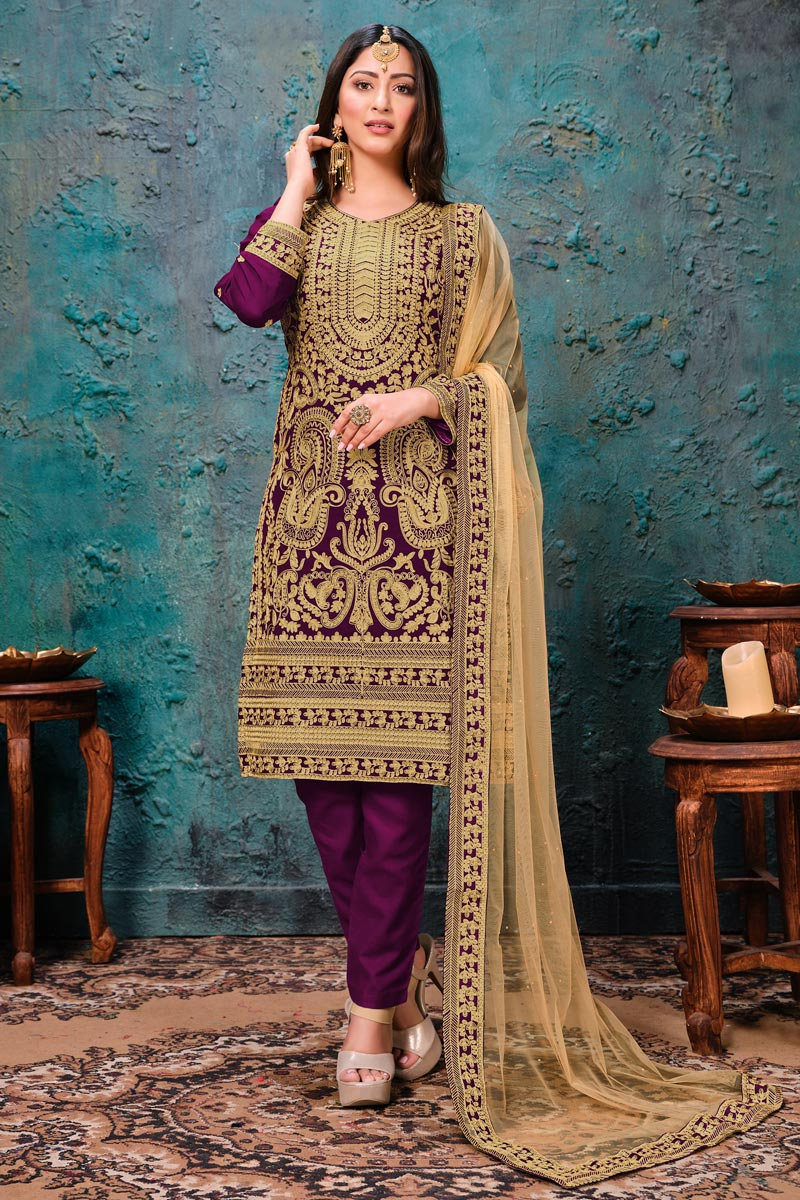 Purple Color Festive Wear Embroidered Straight Cut Suit In Georgette Fabric