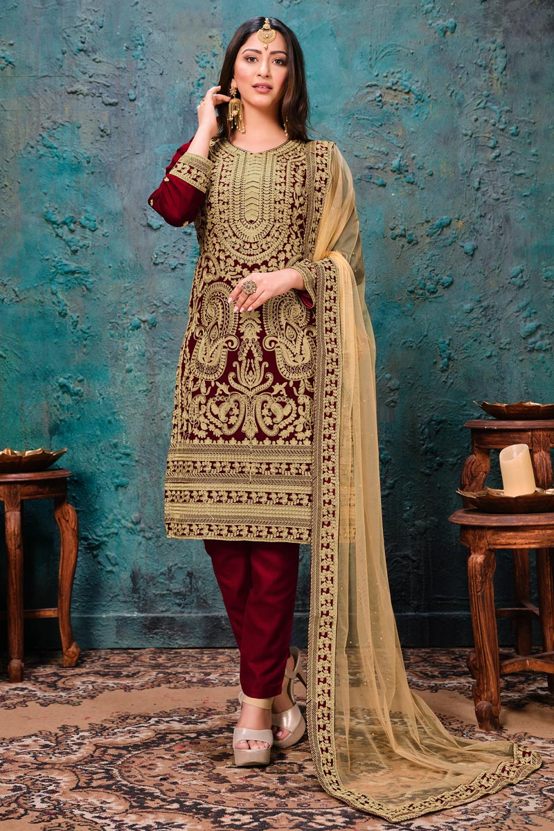 Georgette Fabric Festive Wear Embroidered Straight Cut Suit In Maroon Color