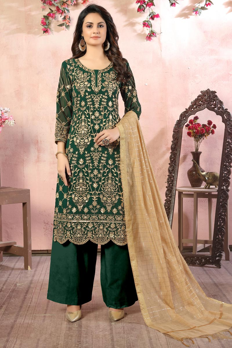 Green Color Embroidered Georgette Fabric Party Wear Palazzo Salwar Kameez