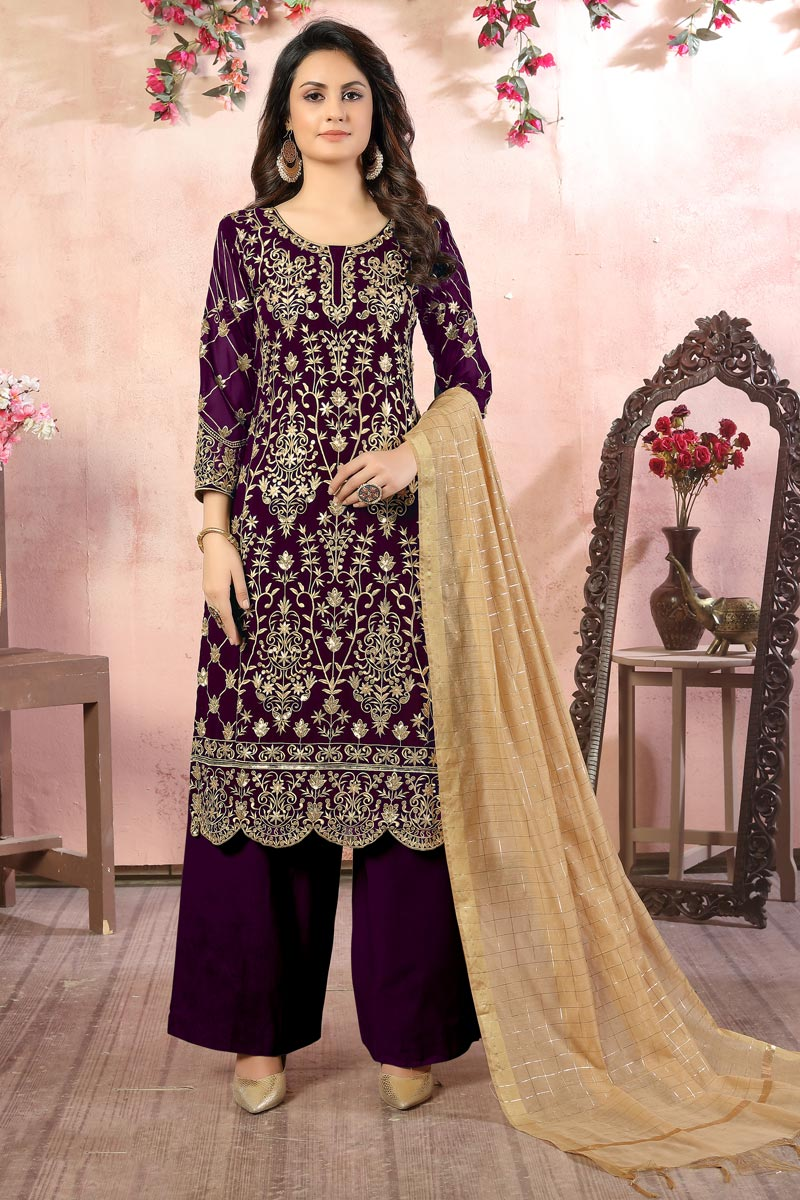 Embroidery Designs Purple Color Georgette Fabric Function Wear Palazzo Salwar Suit