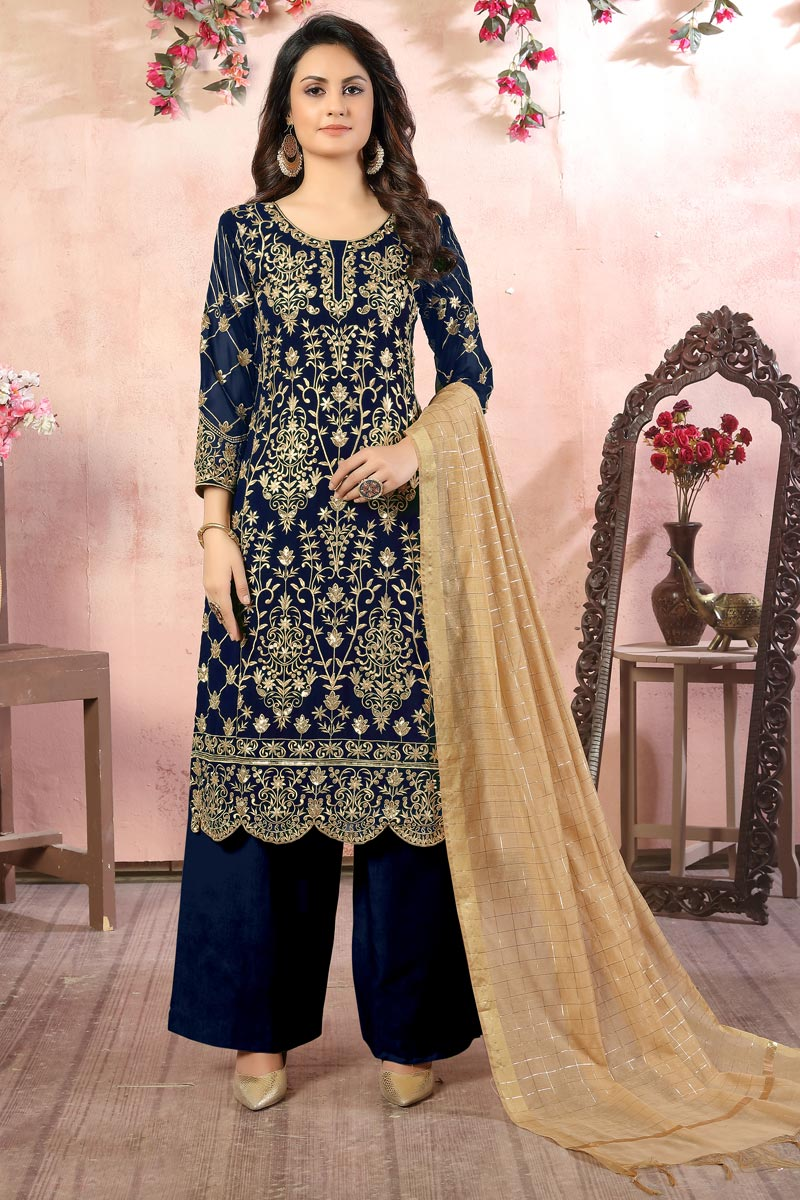 Embroidered Georgette Fabric Navy Blue Color Function Wear Palazzo Suit