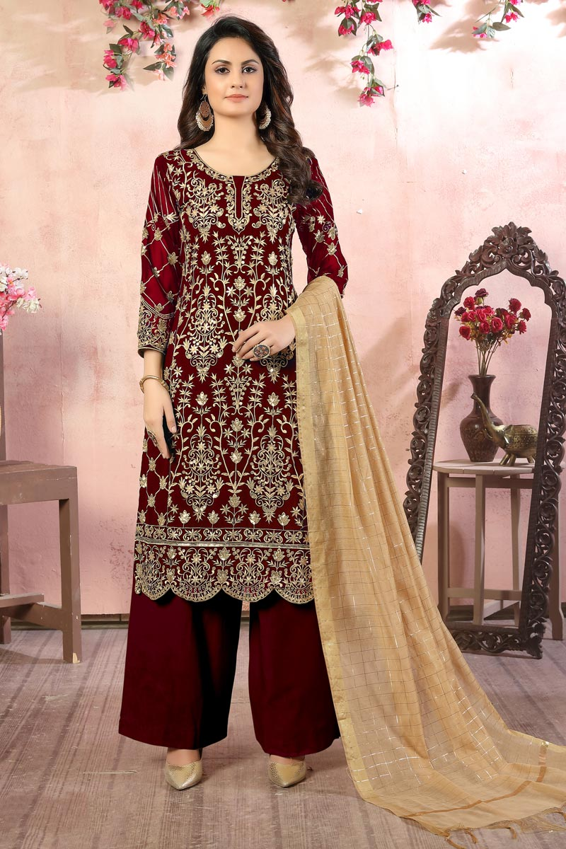 Georgette Fabric Maroon Color Function Wear Palazzo Salwar Kameez