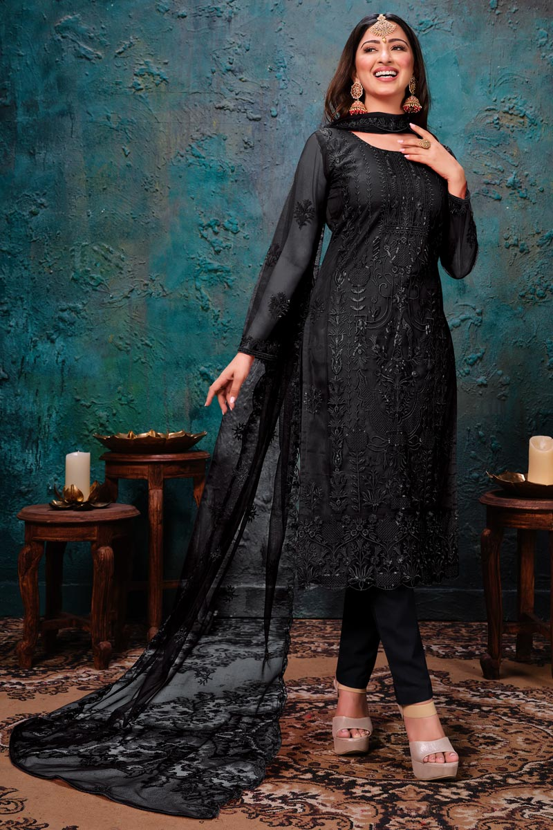 Black Color Net Fabric Function Wear Embroidered Salwar Suit