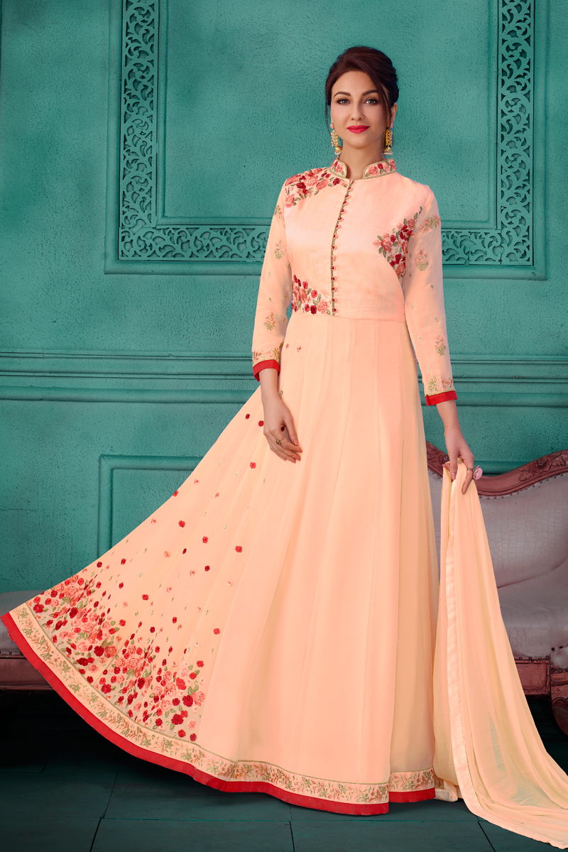 Saumya Tandon Fancy Chikoo Color Anarkali Salwar Kameez In Georgette