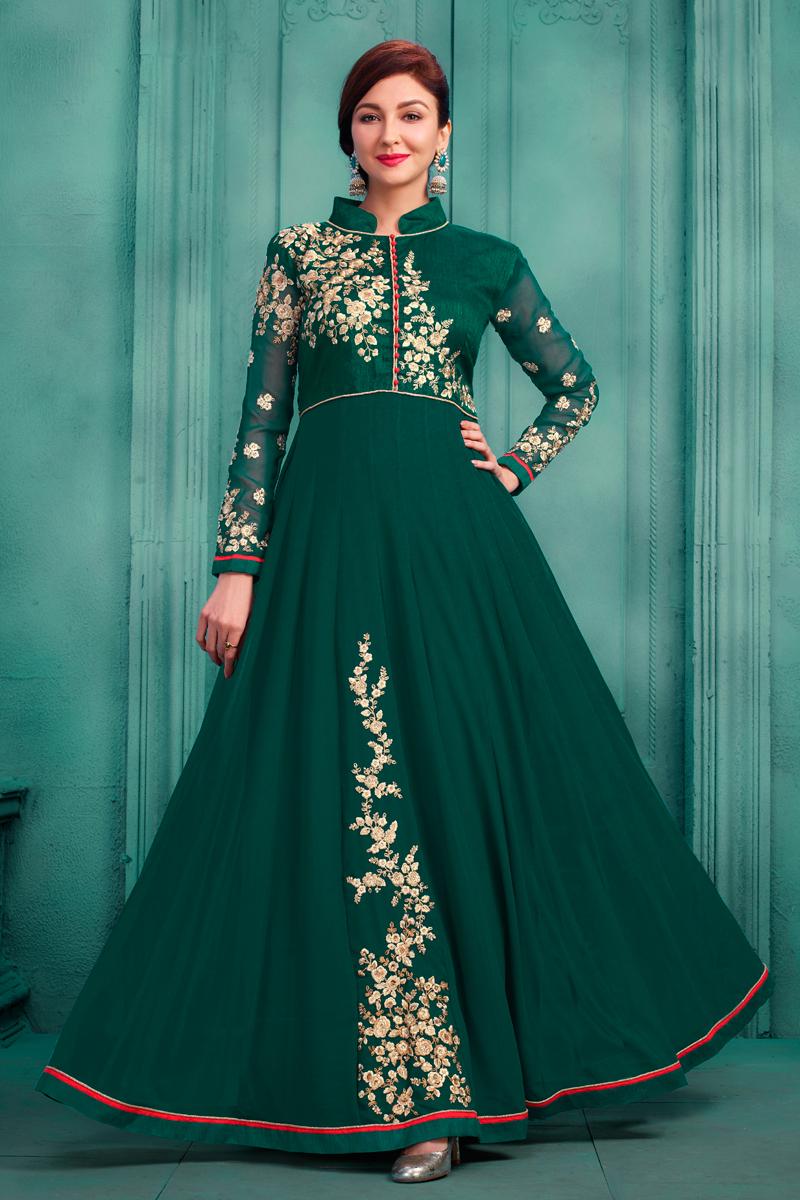 Saumya Tandon Dark Green Floor Length Anarkali Suit In Georgette