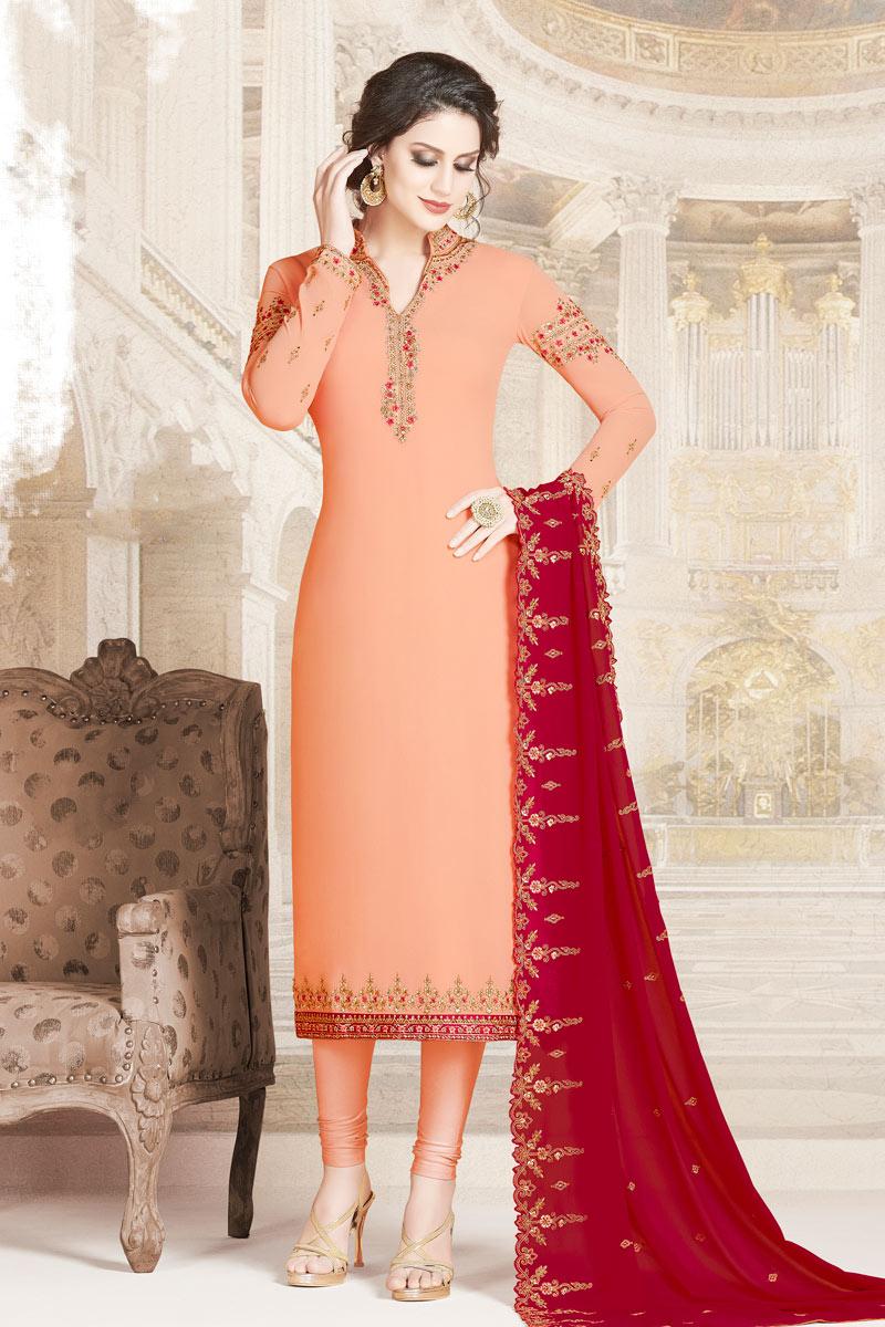 Embroidery Work On Georgette Fabric Peach Wedding Wear Straight Cut Salwar Suit