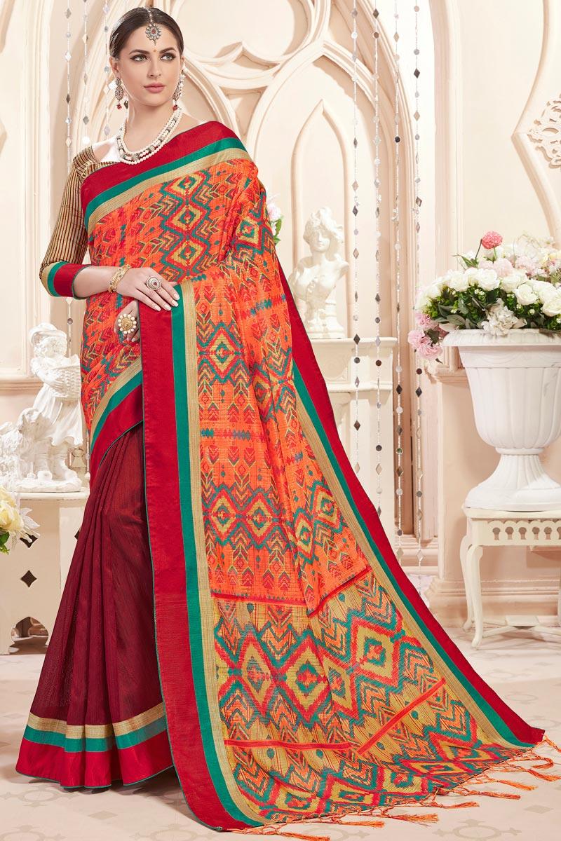 Maroon Printed Festive Wear Fancy Saree In Art Silk