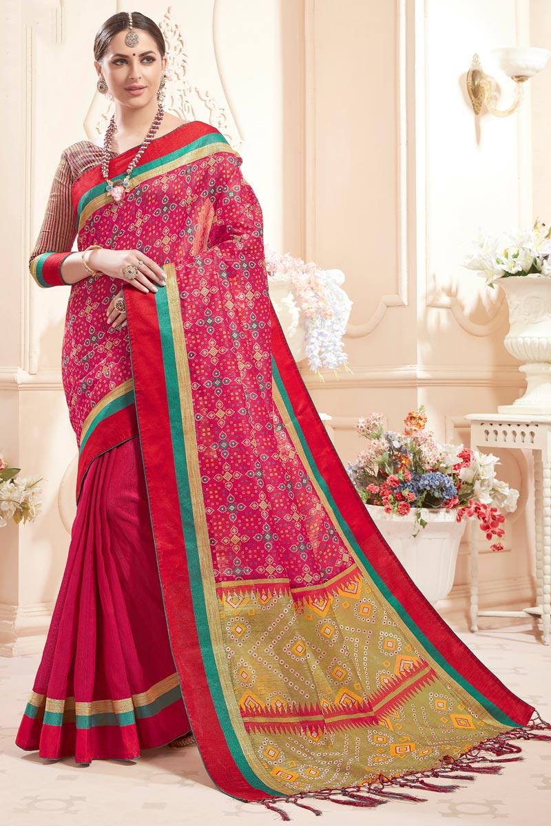Rani Color Function Wear Fancy Art Silk Casual Printed Saree