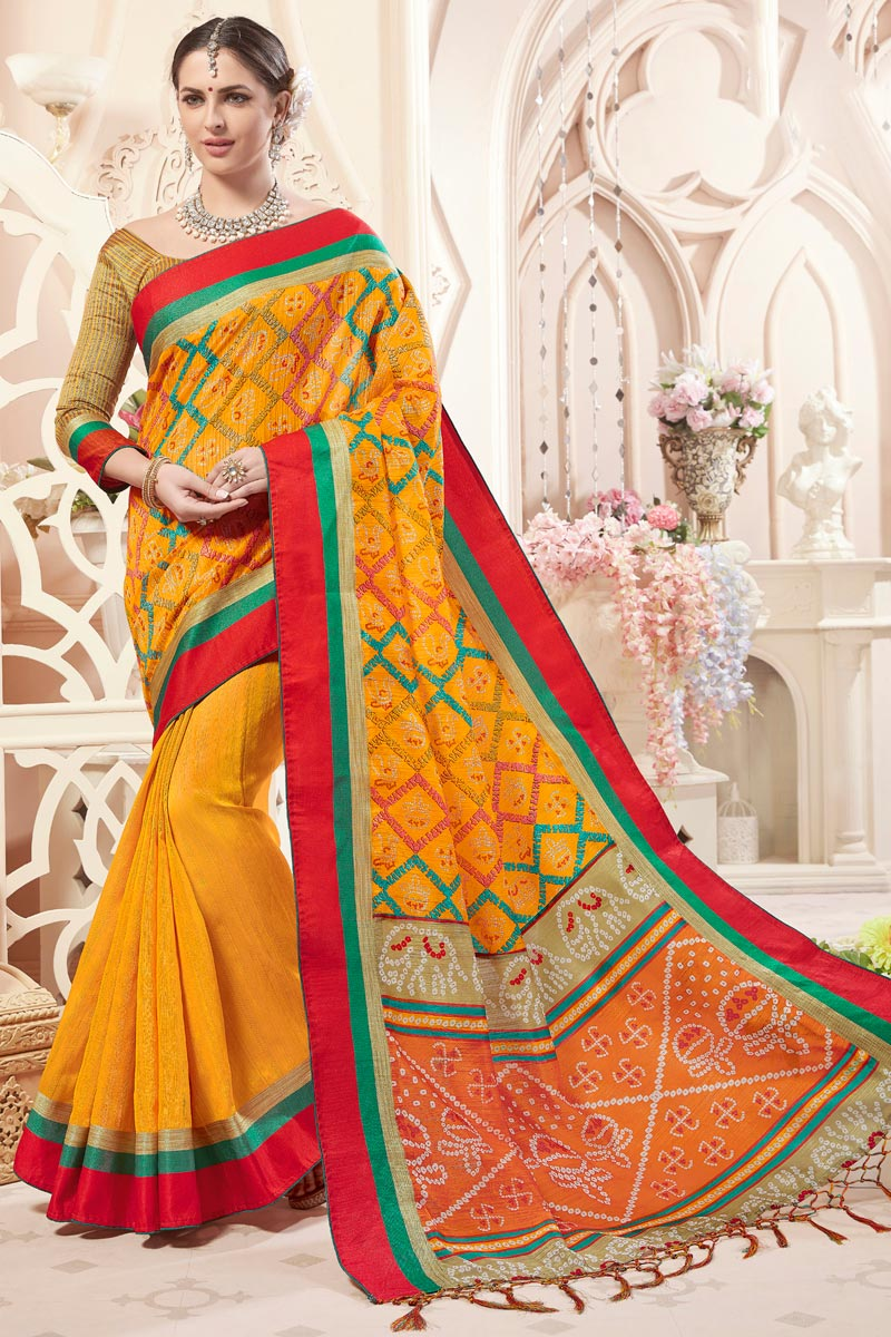 Function Wear Mustard Fancy Art Silk Casual Printed Saree