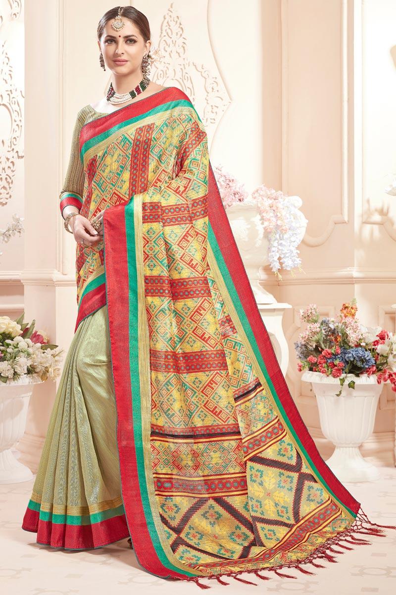 Art Silk Fancy Printed Casual Party Wear Cream Saree