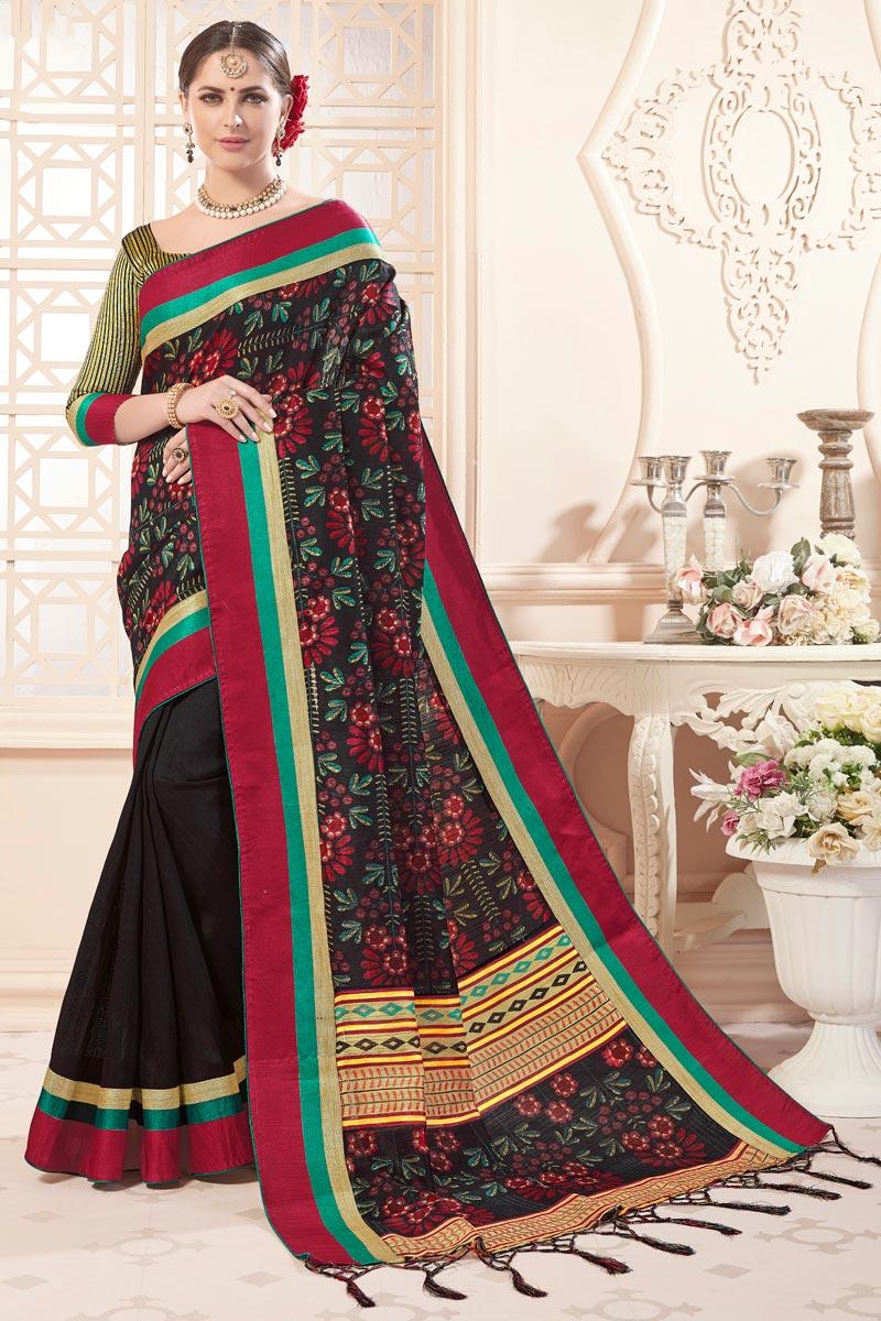 Art Silk Festive Wear Black Casual Printed Saree
