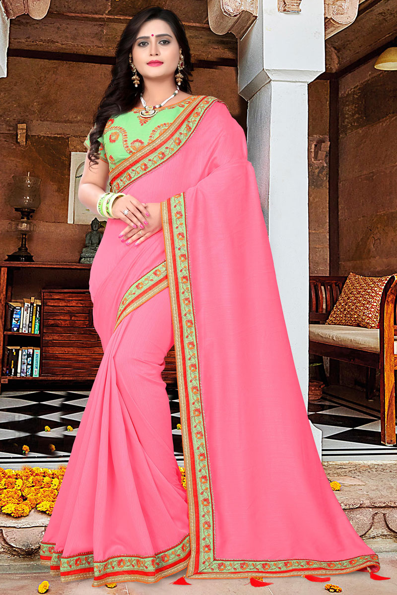 Party Wear Embellished Pink Art Silk Saree With Lace Border
