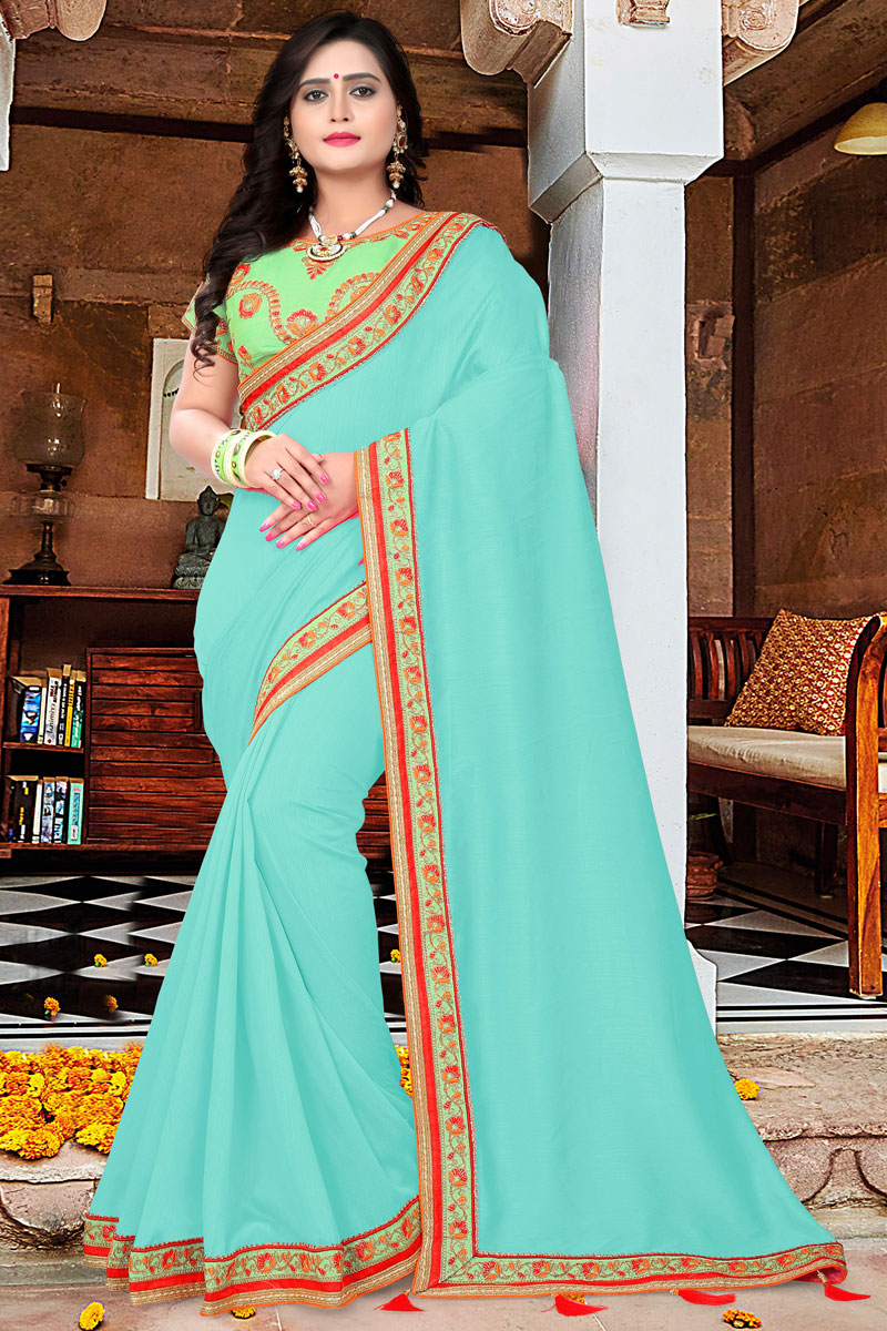 Function Wear Cyan Designer Saree With Lace Border In Art Silk