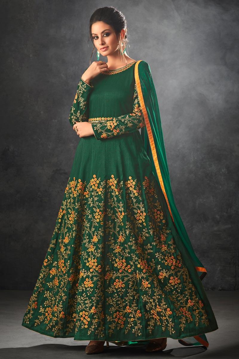 Dark Green Art Silk Wedding Function Wear Anarkali