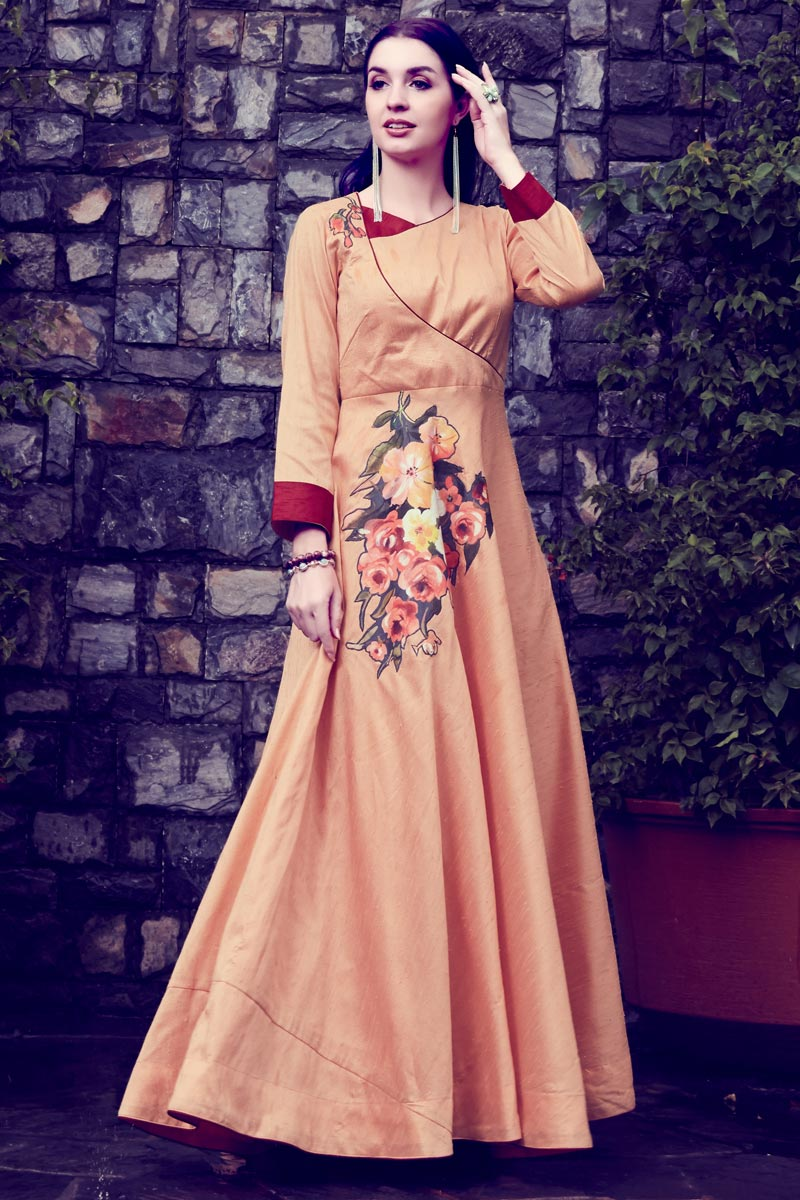Printed Casual Wear Art Silk Salmon Color Gown Style Long Kurti