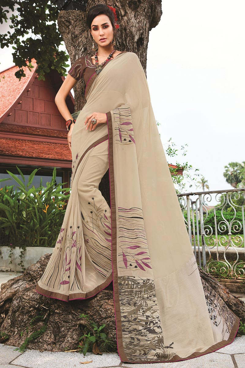 Hypnotic Cream Party Wear Georgette Saree With Fancy Print