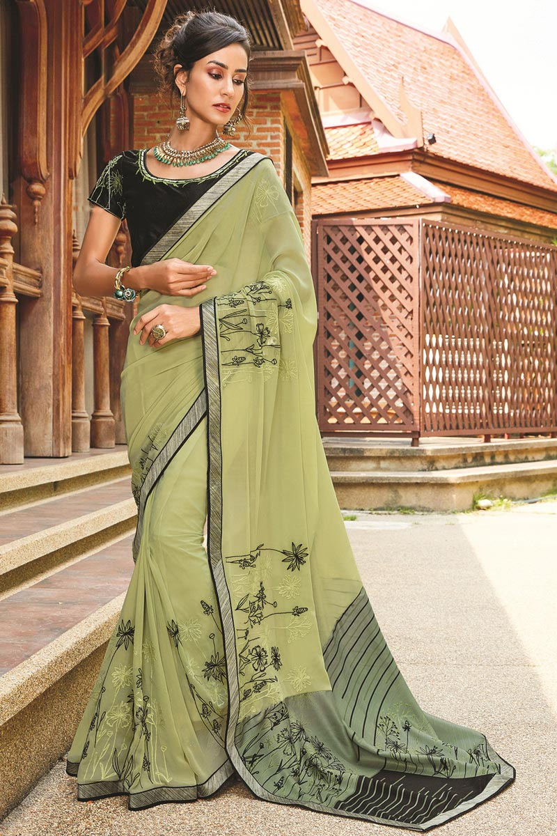Charismatic Georgette Printed Green Saree With Blouse
