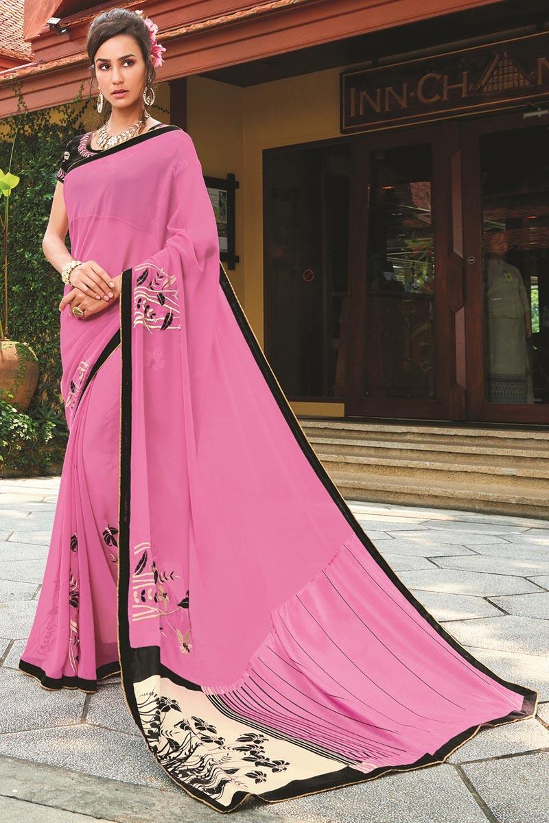 Mesmeric Georgette Pink Printed Party Wear Saree