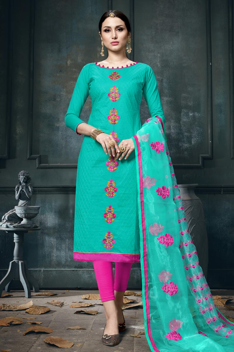 Embroidery Designs On Cotton Fabric Turquoise Color Function Wear Straight Cut Salwar Suit