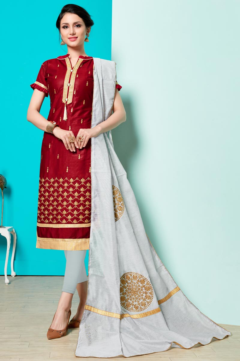 Embroidery Work On Cotton Fabric Maroon Color Party Wear Straight Cut Salwar Suit