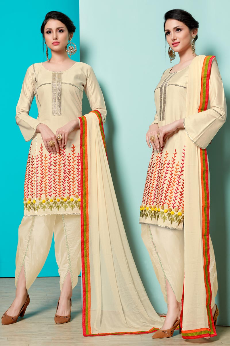 Beige Color Cotton Fabric Festive Wear Designer Suit With Embroidery Work