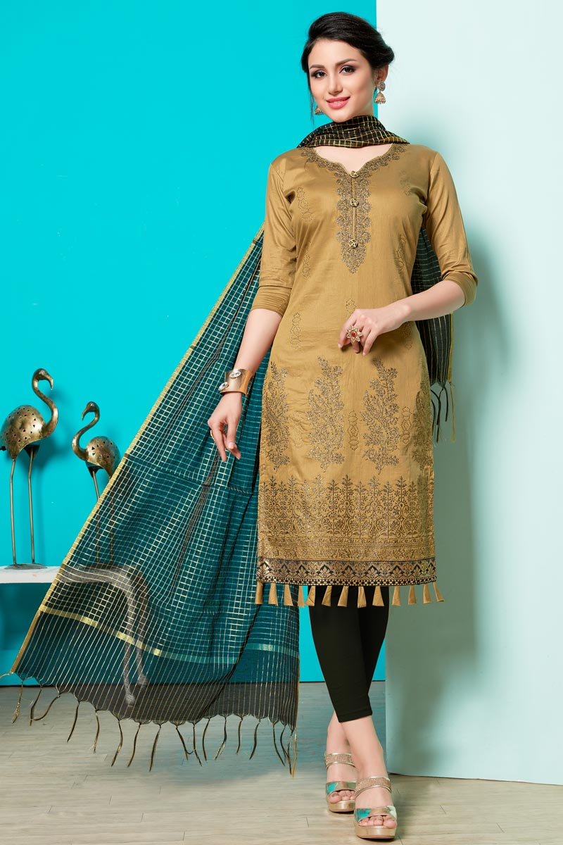 Embellished Light Brown Color Straight Churidar Dress In Cotton Fabric