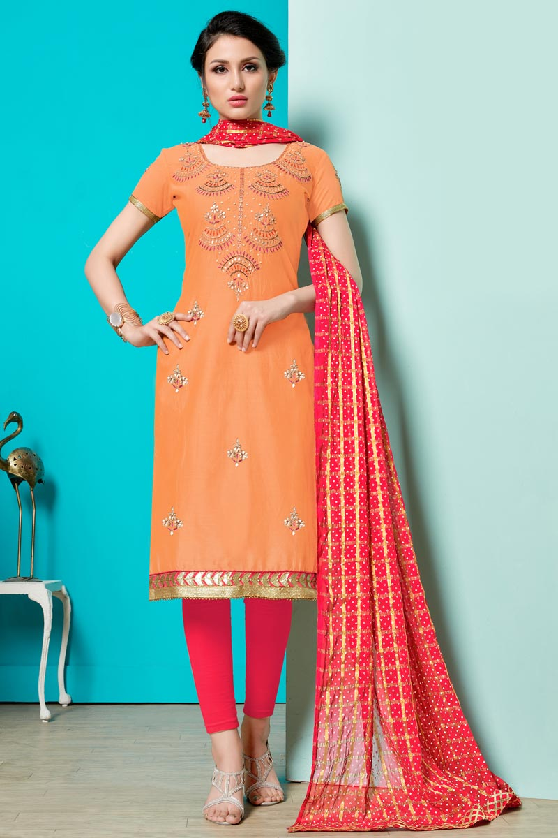 Orange Color Embroidered Cotton Fabric Straight Cut Churidar Dress