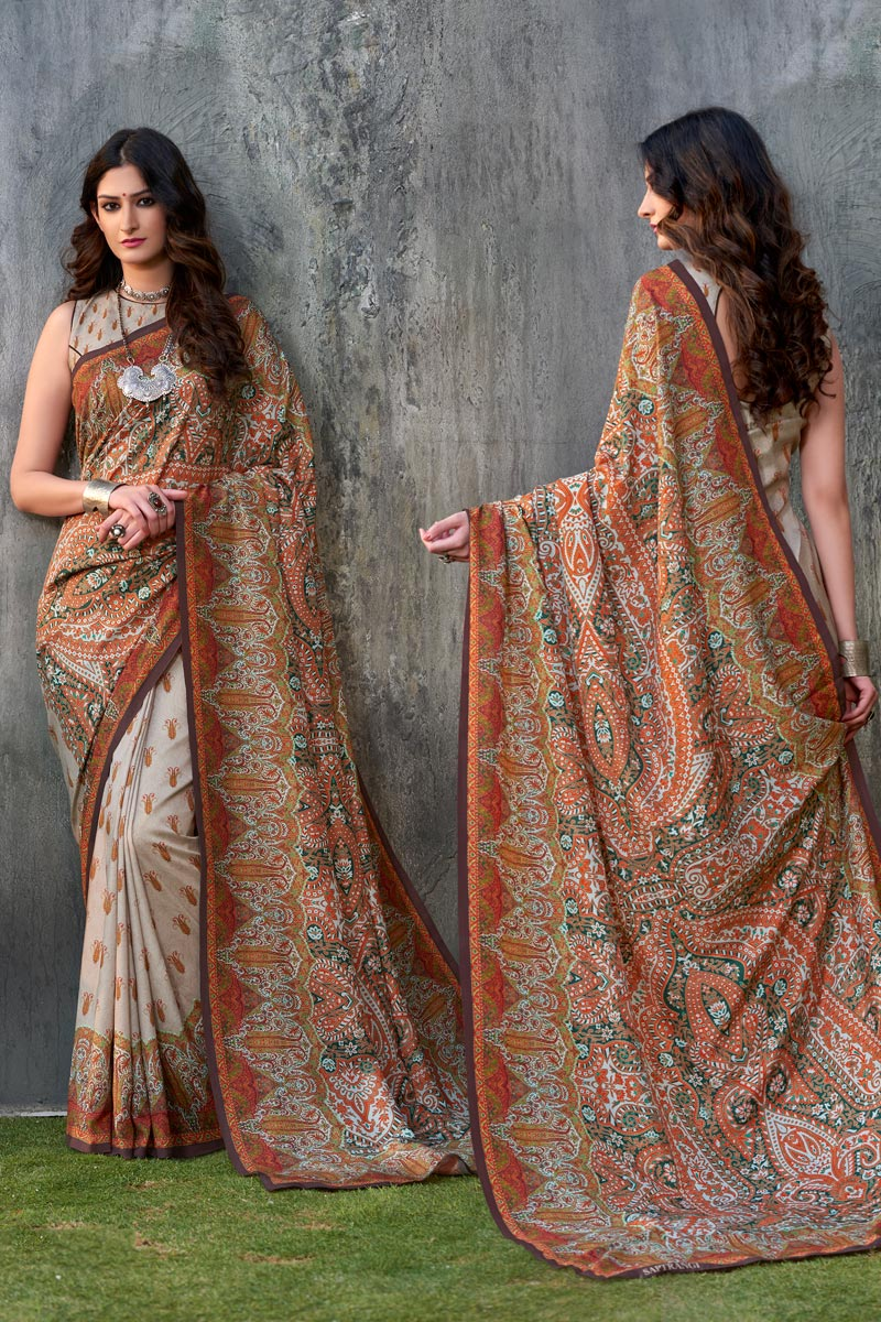 Light Brown Color Casual Wear Printed Saree In Art Silk Fabric