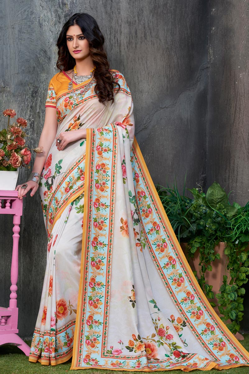 Art Silk Fabric Off White Color Festive Wear Printed Saree