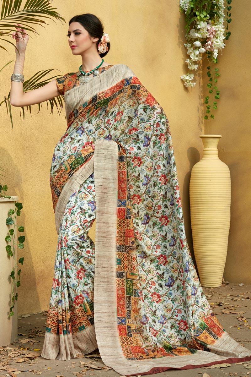 Fancy Art Silk Fabric Multi Color Daily Wear Printed Saree