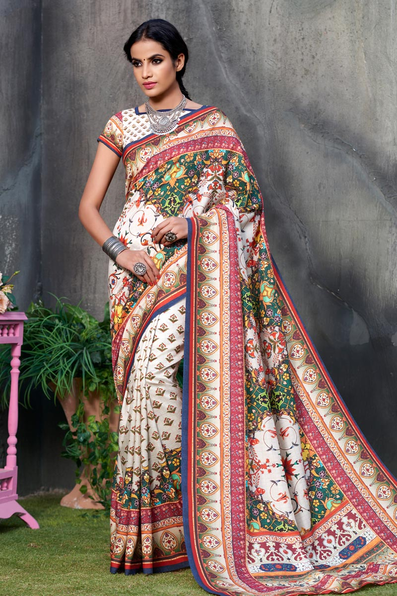 Beige Color Art Silk Fabric Fancy Printed Saree With Blouse