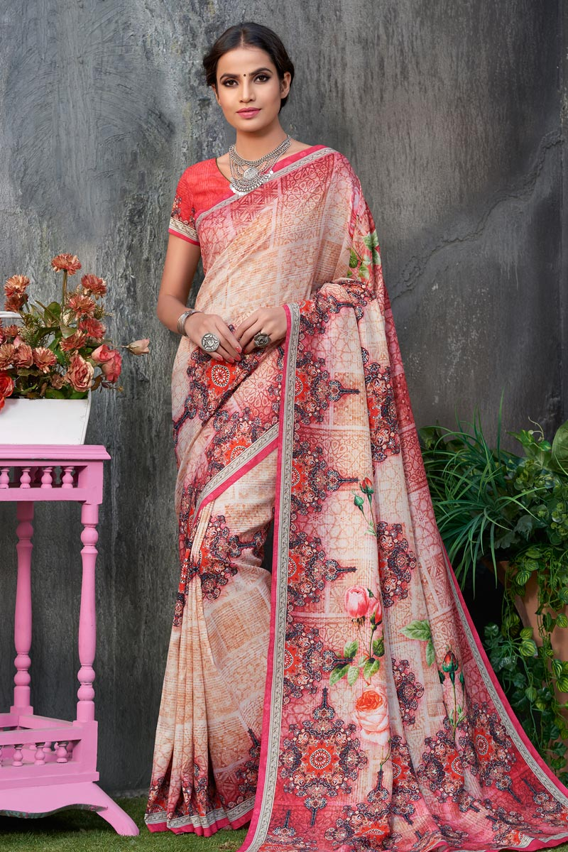 Art Silk Fabric Printed Occasion Wear Pink Color Saree With Blouse