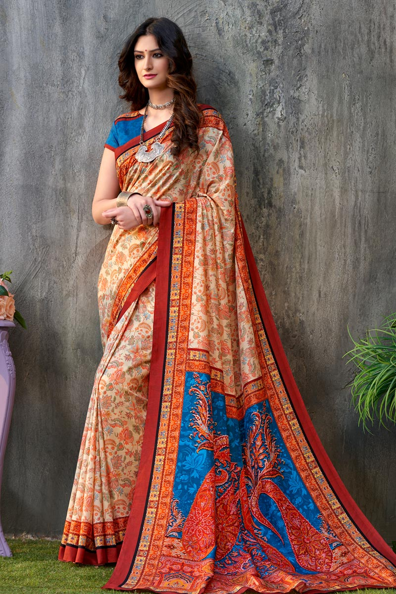 Printed Orange Color Art Silk Fabric Function Wear Saree With Blouse