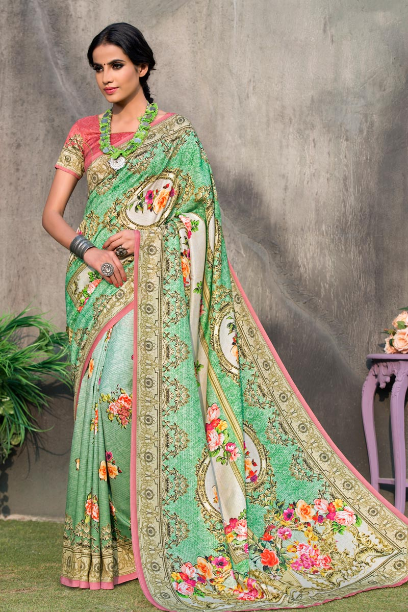 Sea Green Color Art Silk Fabric Festive Wear Saree With Printed