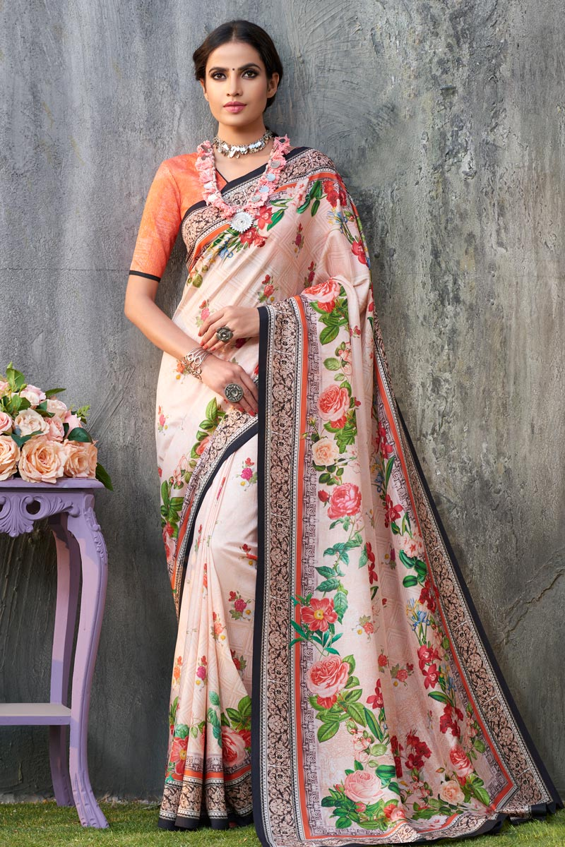 Art Silk Fabric Fancy Saree With Printed On Peach Color
