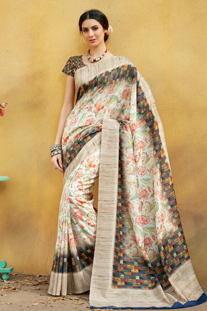 Printed Office Wear Saree In Art Silk Fabric Cream Color