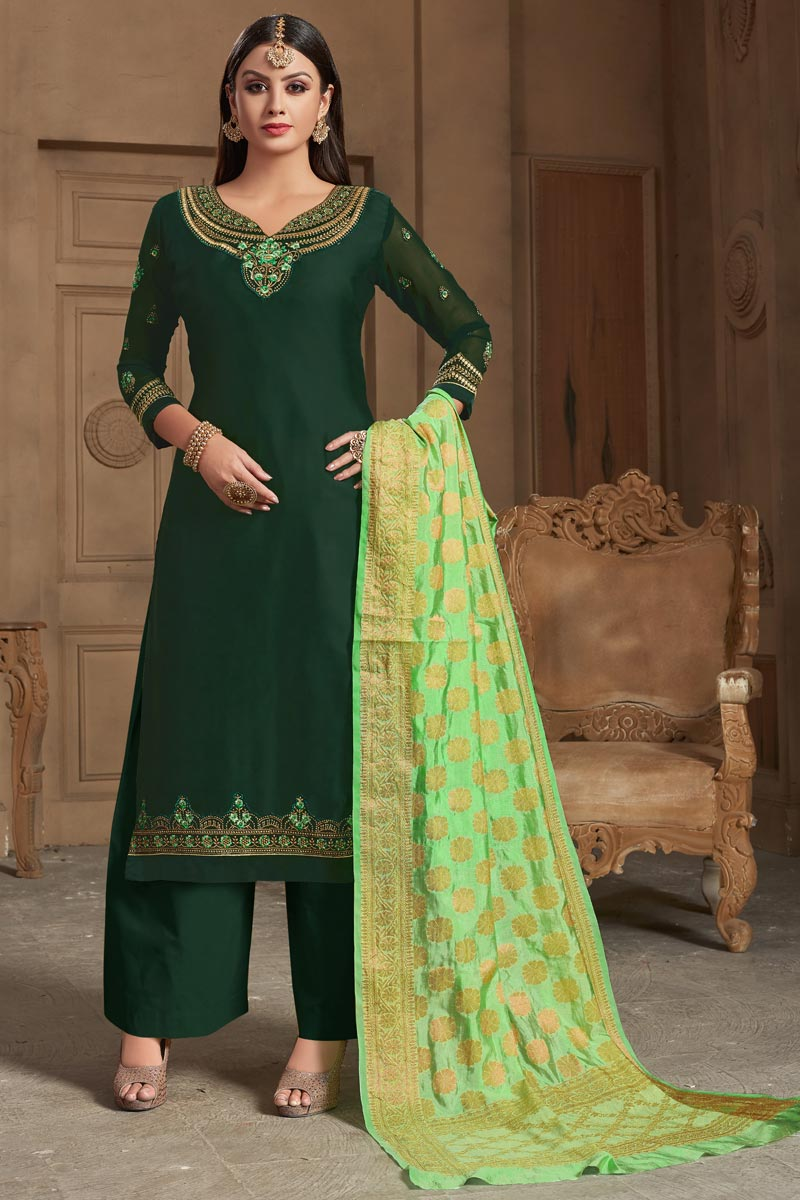 Dark Green Georgette Function Wear Embroidered Palazzo Suit With Fancy Dupatta