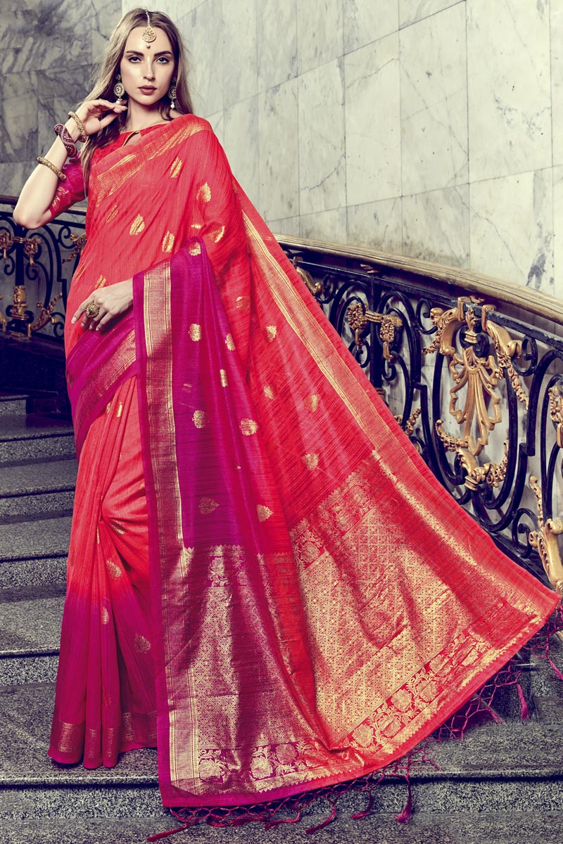 Festive Wear Red Printed Fancy Saree In Art Silk
