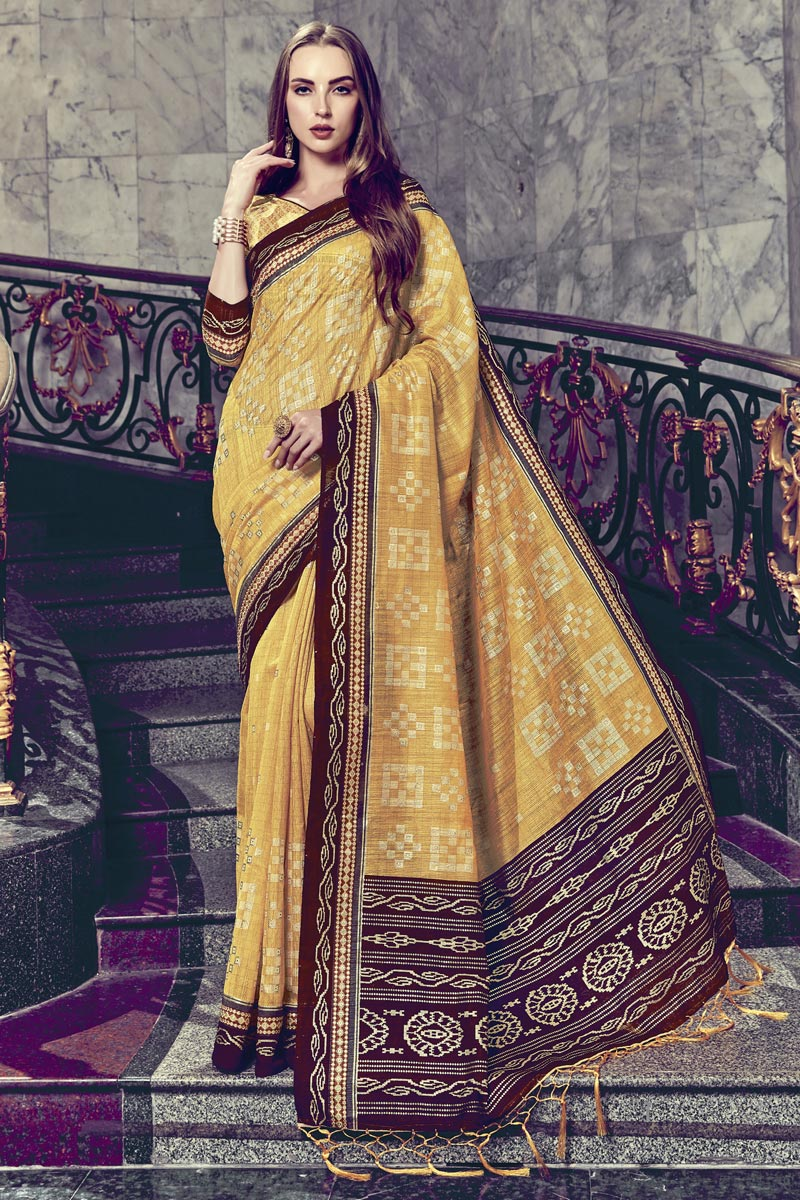 Print Work On Fancy Art Silk Festive Wear Yellow Saree