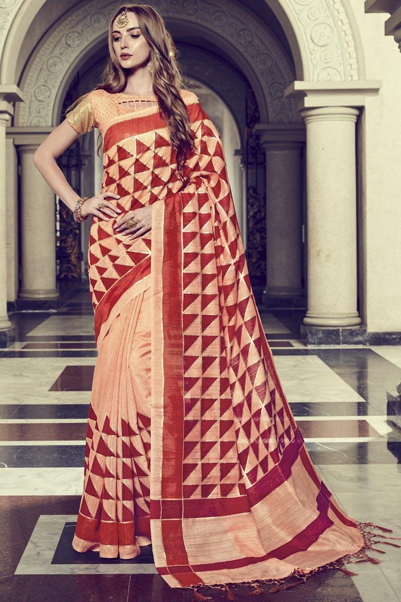 Festive Wear Art Silk Printed Fancy Saree In Peach