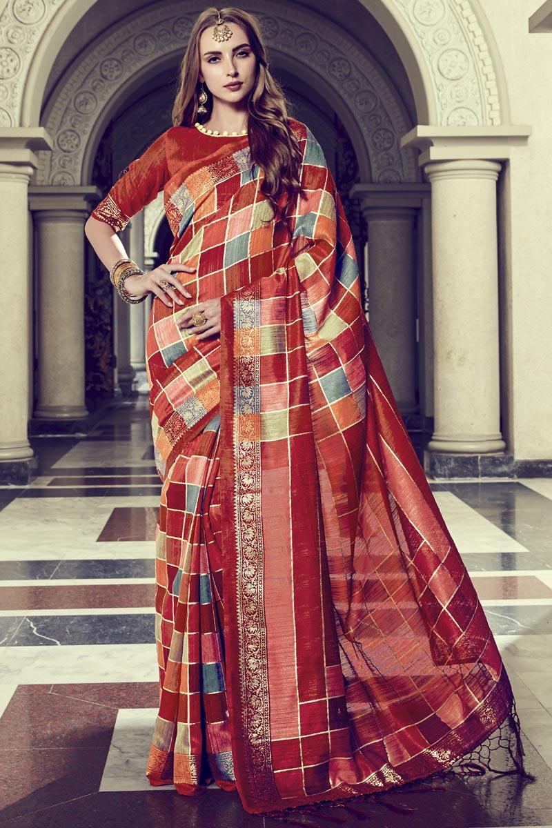 Rust Color Fancy Festive Wear Art Silk Printed Saree