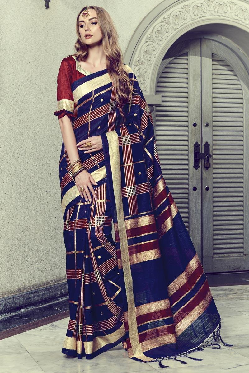 Festive Wear Navy Blue Fancy Art Silk Saree With Print Work