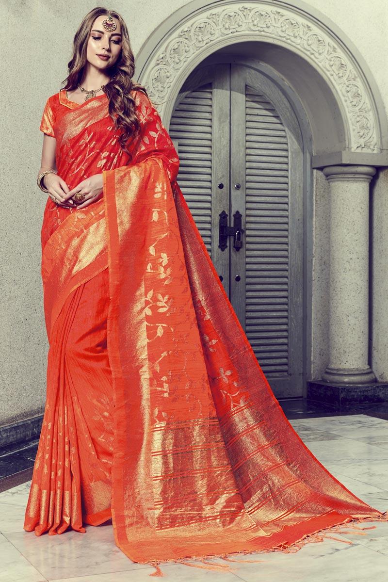 Fancy Print On Festive Wear Red Art Silk Saree
