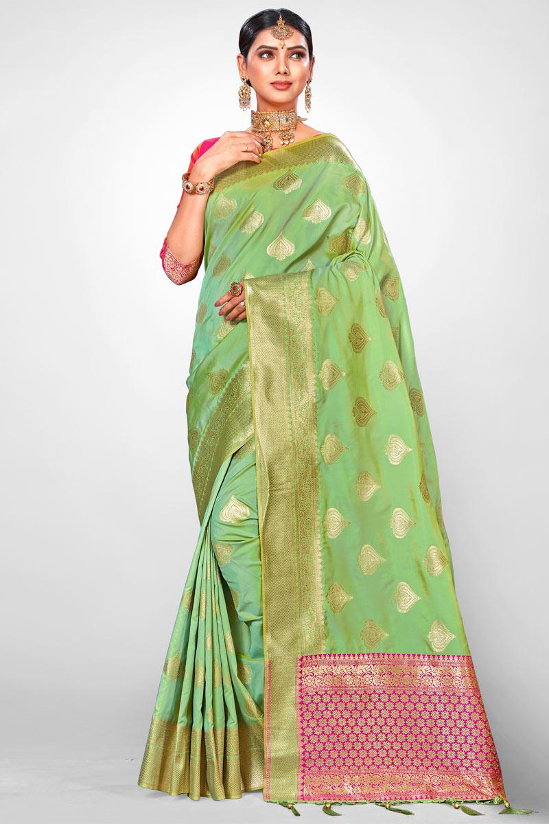 Jacquard Silk Fabric Green Weaving Work Designer Saree With Designer Blouse