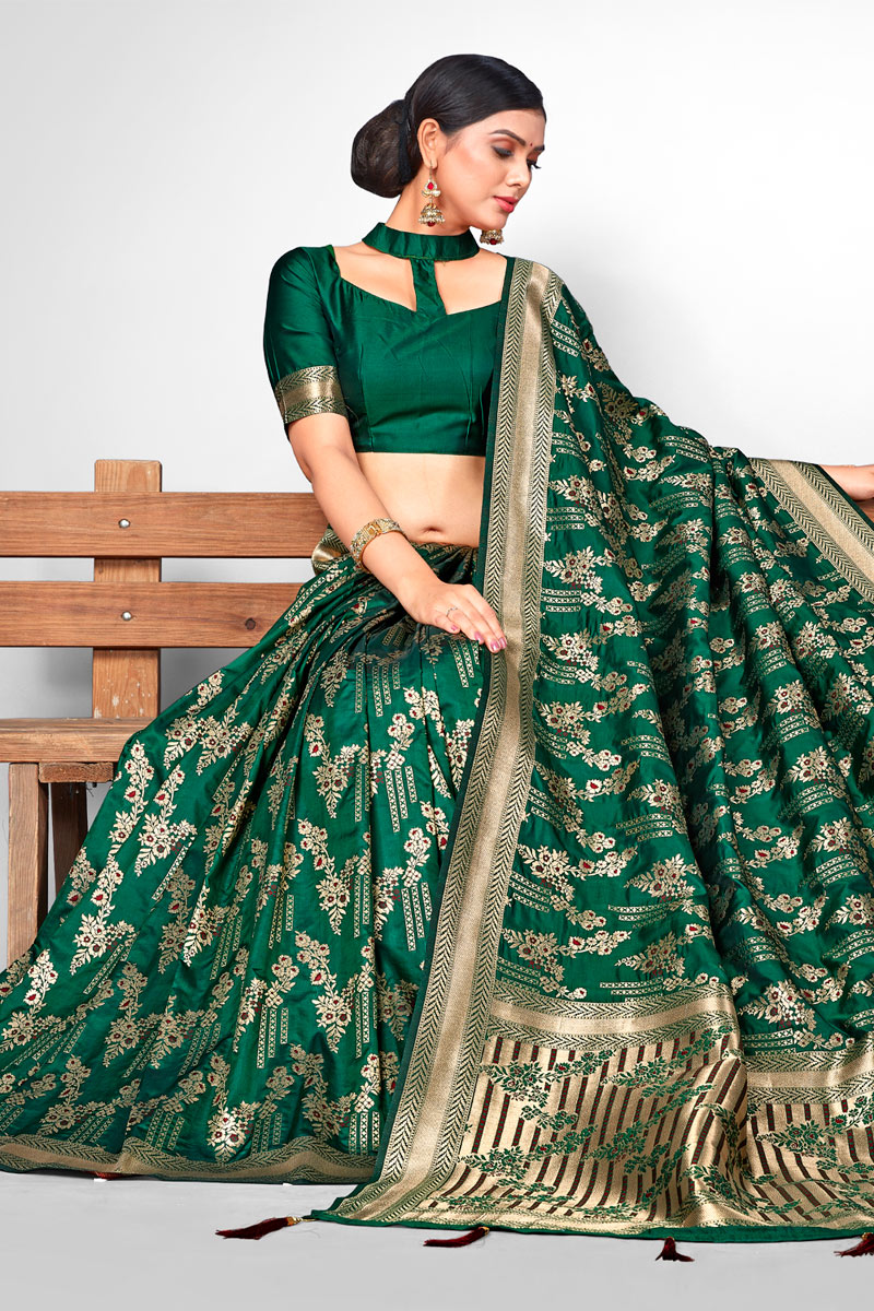 Jacquard Silk Fabric Dark Green Festive Saree With Weaving Work And Gorgeous Blouse