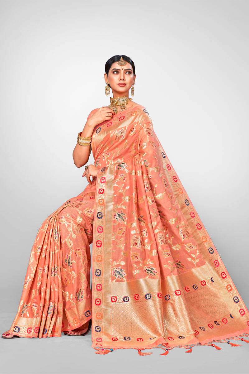 Peach Jacquard Silk Fabric Wedding Wear Saree With Weaving Work And Gorgeous Blouse