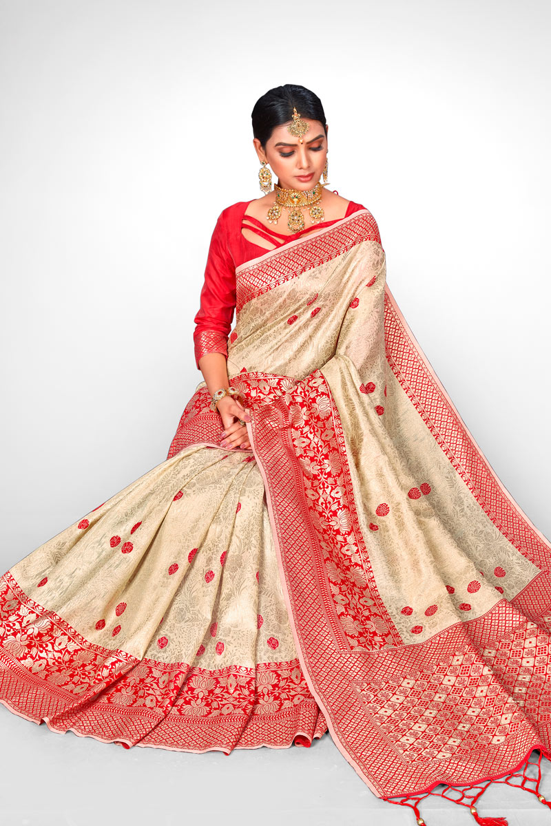 Weaving Work On Reception Wear Saree In Jacquard Silk Fabric Beige With Charming Blouse