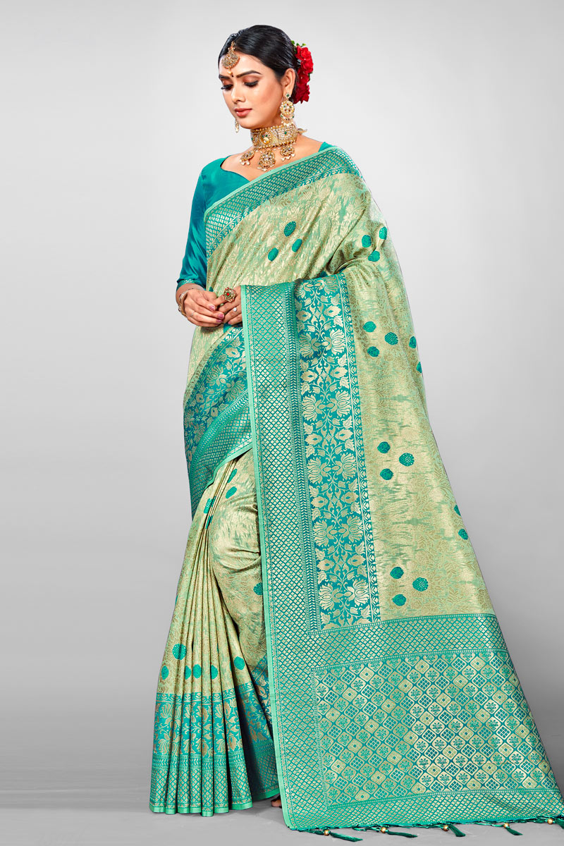 Weaving Work On Sea Green Designer Saree In Jacquard Silk Fabric With Admirable Blouse