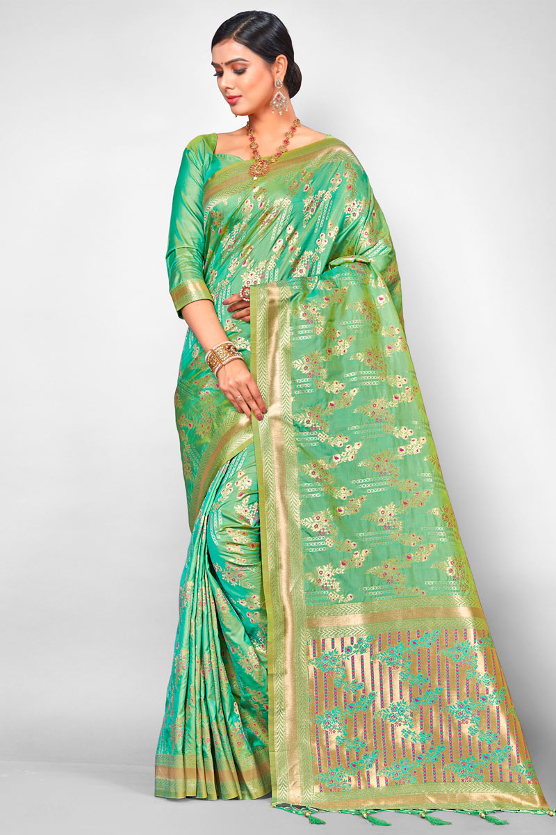 Jacquard Silk Fabric Designer Weaving Work Festive Wear Sea Green Saree